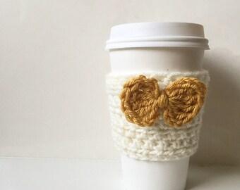 Coffee Cozy with Bow - Mustard Coffee Cozy - Crochet Coffee Sleeve - Cup Cozy - Knit Coffee Cozy