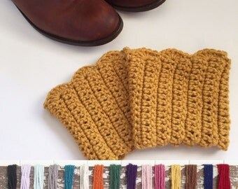 Crochet Boot Cuffs - Knit Boot Cuffs - Boot Socks - Ruffle Boot Cuffs - Mustard Boot Cuffs - Boot Toppers - Boot Socks