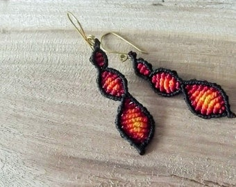 Long Red Macrame fairy earrings