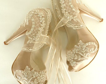 Wedding Shoes - Champagne Embroidered Lace Bridal Shoes
