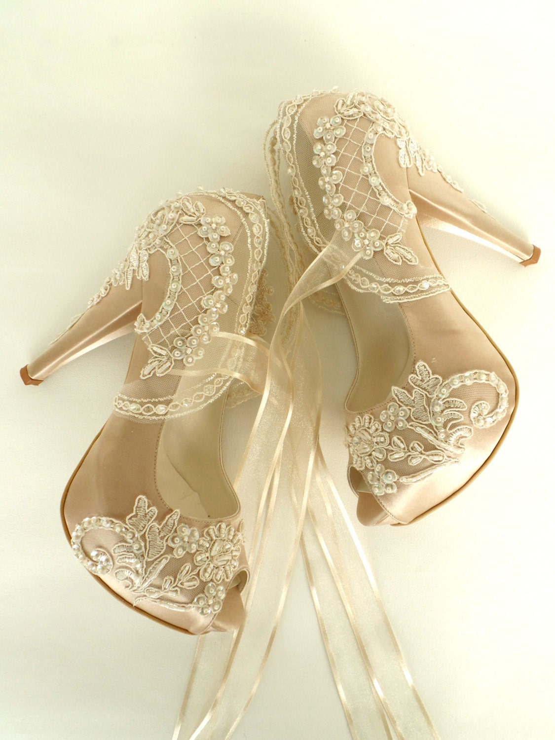 Wedding Shoes Champagne Embroidered Lace Bridal Shoes