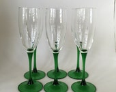 Champagne Glasses / 6 Vintage Green Stem Flutes / Champagne Glasses Green Stems