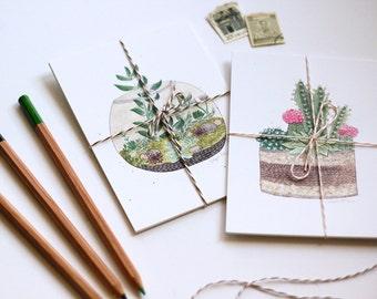 garden art postcards, set of 4, terrarium succulent art, modern cactus art