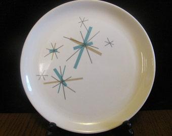 Salem North Star Dinner Plate Aqua Butterscotch Starburst