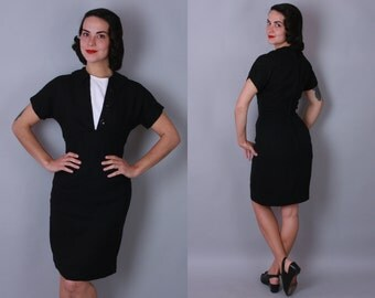 1950s Black Tie day dress | vintage 50s black and white linen sheath dress | small