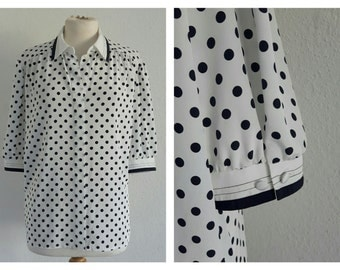 Vintage 70s Frankenwalder Polka Dot Mod Blouse - Retro Button Up Collared Shirt