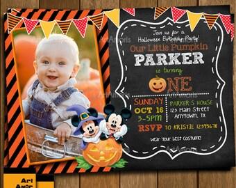 Halloween Invitation, Birthday Invitation, Halloween Photo Birthday Invitation R-58