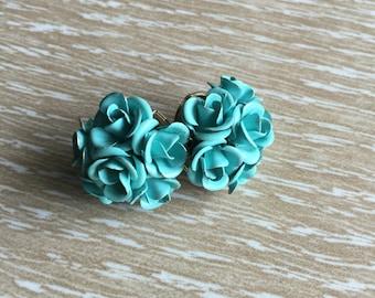 Aqua Enameled Vintage Metal Rose Pierced Earrings