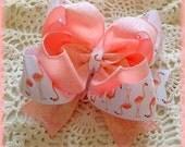 Flamingo Hair Bow...Glitter Flamingo Hair Bow...Light Coral Hair Bow...Blush Glitter Hair Bow....Flamingo Bow...Glitter Hair Bow