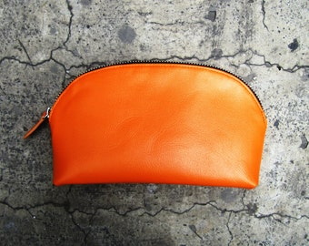 BASIC - Neon Orange Calf Leather Half Circle Make Up Pouch Cosmetic Case