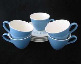 Homer Laughlin  Blue Fleur de Lis Cup and Saucer Set Vintage 1960s 10 Piece Set