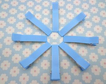 20 pcs girl hair clips - blue satin hair clips - girl barrettes