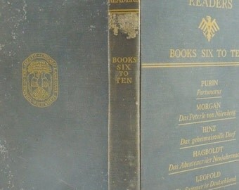 On Sale Price Graded German Readers. Vintage Hardback Book. 1934. Book Six. Fortunatus. German Lessons. Weatherd Blue Book. Library. Den. Co