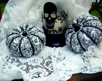Halloween decor pumpkins (set of 2)  Halloween decoration Fall decoration papier mache pumpkins decoupage pumpkin