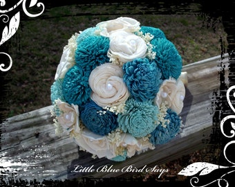 Blue bridal bouquet | sola flower bridal bouquet | beach bouquet | rustic bouquet | keepsake bouquet | alternative bouquet