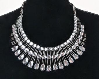 Statement Rhinestone Necklace Collar  Vintage