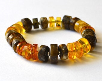 Amber Bracelet Gold Amber Jewelry, Women Amber Bracelet, gemstone gift