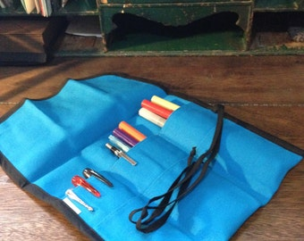 TALL Blue Pencil Tool Roll -- Pencil Pouch -- Pencil Case -- Travel Roll