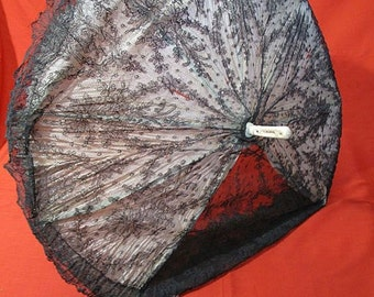 Antique Victorian Chantilly Lace & Carved Parasol