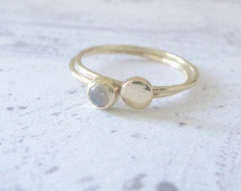 Labradorite gold ring - set of 2 9ct yellow gold rings - Orbit Collection