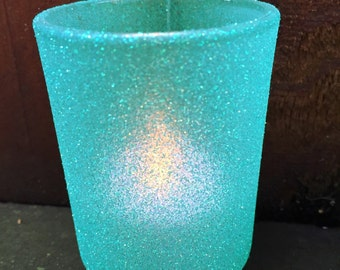 Votive holders in Light Teal glitter