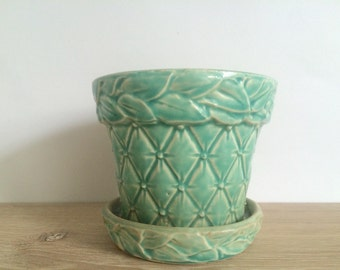 Vintage McCoy Flower Pot in Quilted Leaves Pattern