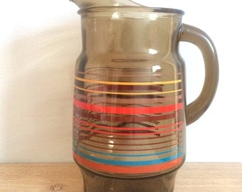 Vintage Striped Brown Glass Pitcher