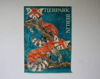Original BERLIN Zoo Advertising Poster- Germany 1964- Red panda design P120