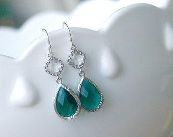 Emerald Green Earrings in Silver - Sterling Earwire - May Birthstone, Emerald Wedding Bridesmaid Jewelry, Emerald Christmas