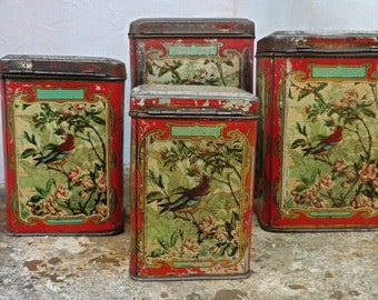 French Vintage, Old Storage Tins, French Shabby Decor, French Antiques , New Listing,  French Kitchen, Tinplate, Tole Tins ,  Film Props