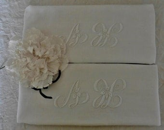 French vintage, Monogrammed Linen Cloths , Monogram Towels ,White Work,  Monogrammed French Linens