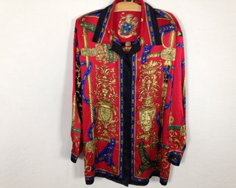 90s designer silk button up shirt size XL