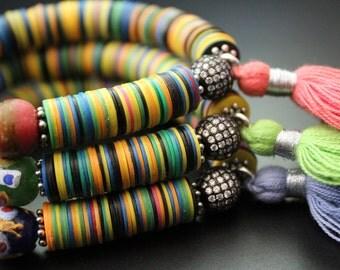 African tassel bracelet colorful vulcanite bracelet African jewelry stretch bracelet stacking summer fun festival bracelet trade bead
