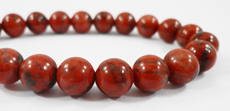 Red Natural Stones : Red jasper beads mm round stone sesame