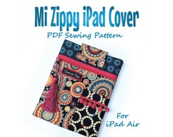 Sewing pattern for iPad Air cover. Mi Zippy iPad cover. PDF download. Tablet case sewing pattern and tutorial