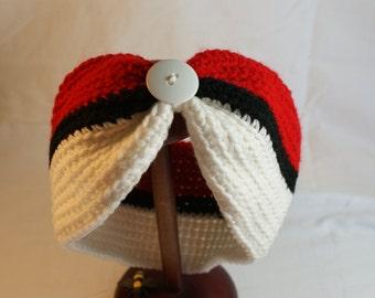 Women's Ear Warmer Headband, Pokeball Inspired Headwrap, Gifts for Her