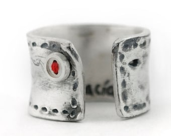 Sterling silver rings for women, adjustable ring, Red ring, oxidized silver jewels, Wide ring, sterling silver rings
