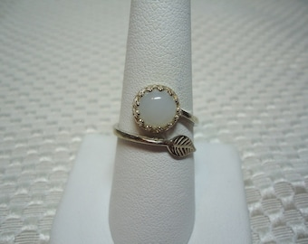 Round Cabochon Moonstone Leaf Adjustable Ring in Sterling Silver   1749