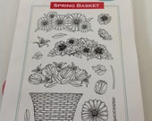 DESTASH Stamp Set, New stamps set, Never Used Stamp set-Spring Basket Set