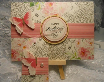 Card - HAPPY BIRTHDAY - With Gift TAG - Handmade - Blank Inside