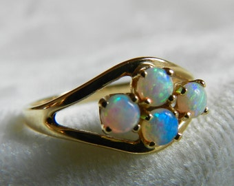 Opal Ring Australian Blue Opal Ring Vintage Opal Engagement 14K Gold Ring Art Nouveau Ring October Birthday Gift