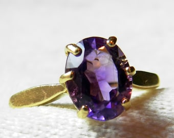 Amethyst Engagement Ring 14K Vintage 1.75 Ct Amethyst Oval Cut Diamond Ring Alternative Engagement Ring February Birthday