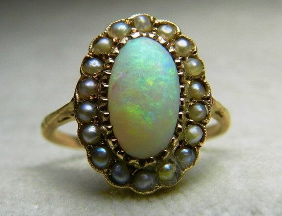 Opal Ring Opal Engagement Ring 1800s Victorian Ring Opal Seed