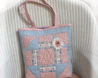 JOY! Tote, Vintage quilt made with Joy, now Repurposed with Joy into a tote to hold your JOY projects! Cottage Chic, Upcycled, OOAK!