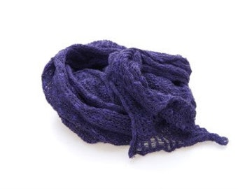 Hand knitted purple scarf