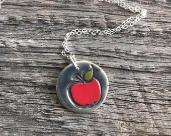 Slver Apple Necklace, Fine Silver Teacher Necklace