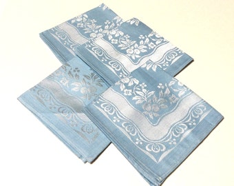 Vintage Napkins, Blue and White Napkins, Set of Four, Made in Occupied Japan, Mint Condition, 1940s