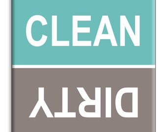 Guajolote Prints Clean Dirty Dishwasher Magnet 2.5 inches Turquoise & Gray