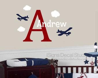 Airplane Wall Decal - Custom Name Decal - Airplane Name Decal - Airplane Decals - Vinyl Wall Decals - Initial Name Decal