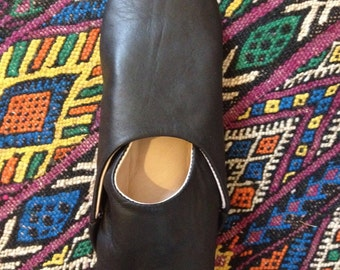 Women's Moroccan Black Leather Babouche/Slippers